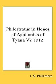 Cover of: Philostratus in Honor of Apollonius of Tyana V2 1912