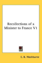 Cover of: Recollections of a Minister to France V1