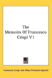 Cover of: The Memoirs Of Francesco Crispi V1