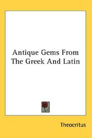 Cover of: Antique Gems From The Greek And Latin