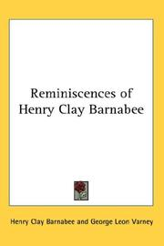Cover of: Reminiscences of Henry Clay Barnabee | Henry Clay Barnabee