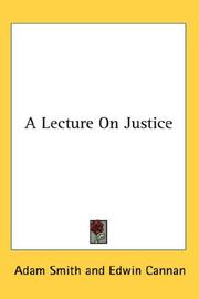 Cover of: A Lecture On Justice
