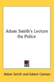 Cover of: Adam Smith's Lecture On Police