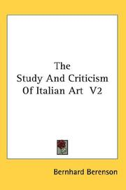 Cover of: The Study And Criticism Of Italian Art  V2