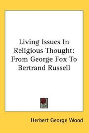 Cover of: Living Issues In Religious Thought