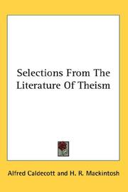 Cover of: Selections From The Literature Of Theism |