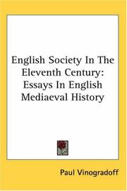 Cover of: English Society in the Eleventh Century