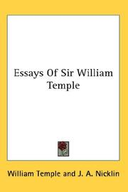 Cover of: Essays Of Sir William Temple