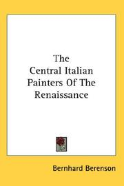 Cover of: The Central Italian Painters Of The Renaissance