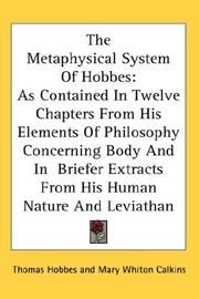 Cover of: The metaphysical system of Hobbes