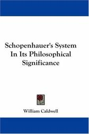 Cover of: Schopenhauer