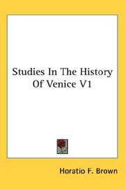 Studies In The History Of Venice V1