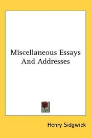 Cover of: Miscellaneous essays and addresses