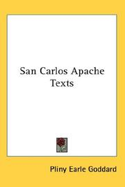 Cover of: San Carlos Apache Texts | Pliny Earle Goddard