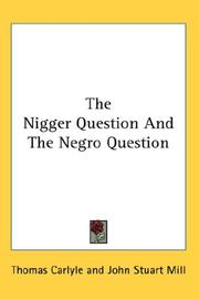 Cover of: The Nigger Question And The Negro Question