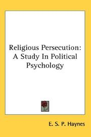 Cover of: Religious Persecution | E. S. P. Haynes