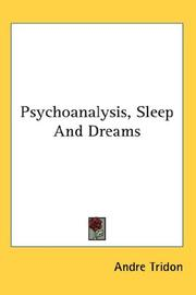 Cover of: Psychoanalysis, Sleep And Dreams