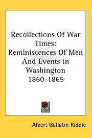 Cover of: Recollections Of War Times | Albert Gallatin Riddle