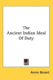 Cover of: The Ancient Indian Ideal Of Duty