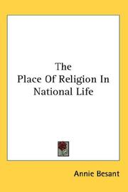 Cover of: The Place Of Religion In National Life