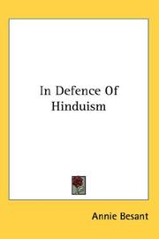 Cover of: In Defence Of Hinduism