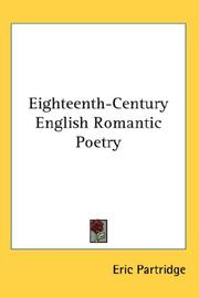 Cover of: Eighteenth century English romantic poetry