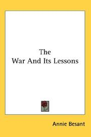 Cover of: The War And Its Lessons