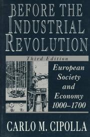 Cover of: Before the industrial revolution | Carlo Maria Cipolla