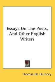 Cover of: Essays On The Poets, And Other English Writers