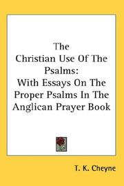 Cover of: The Christian Use Of The Psalms