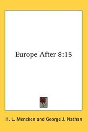 Cover of: Europe After 8 | H. L. Mencken