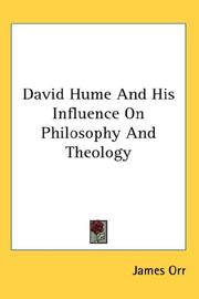 Cover of: David Hume and his influence on philosophy and theology