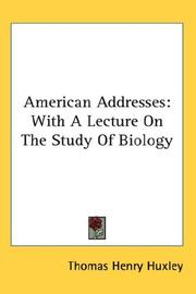 Cover of: American addresses