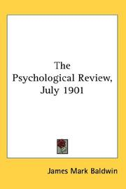 Cover of: The Psychological Review, July 1901