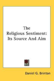 Cover of: The Religious Sentiment