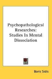 Cover of: Psychopathological Researches | Boris Sidis