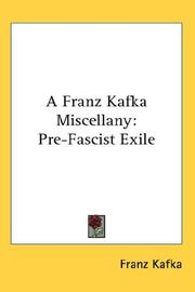 Cover of: A Franz Kafka Miscellany: Pre-Fascist Exile