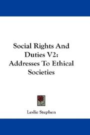 Cover of: Social Rights And Duties: V2