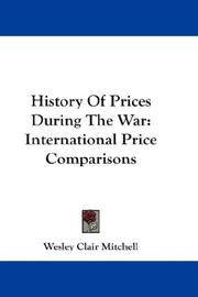 Cover of: History Of Prices During The War