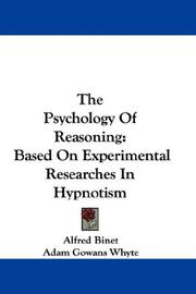 Cover of: The Psychology of Reasoning: Based on Experimental Researches in Hypnotism