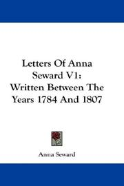 Cover of: Letters Of Anna Seward V1