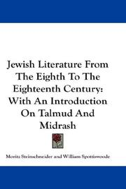Cover of: Jewish literature from the eighth to the eighteenth century
