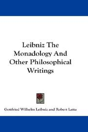 Cover of: Leibniz The Monadology And Other Philosophical Writings