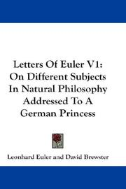 Cover of: Letters Of Euler V1