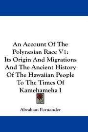 Cover of: An Account Of The Polynesian Race V1