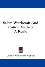 Cover of: Salem Witchcraft And Cotton Mather