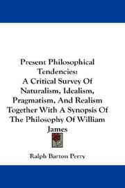 Cover of: Present philosophical tendencies