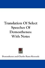 Cover of: Translation Of Select Speeches Of Demosthenes: With Notes