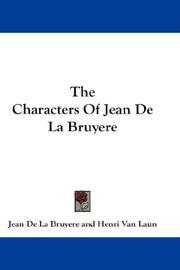 Cover of: The Characters Of Jean De La Bruyere