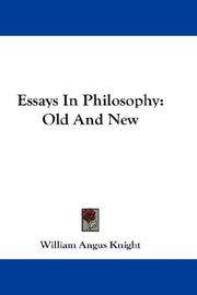 Cover of: Essays In Philosophy | William Angus Knight